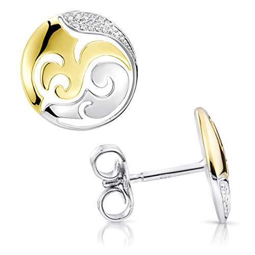 MATERIA 925 Silber Ohrstecker Damen rund 10mm Ohrringe Zirkonia 2 Farben