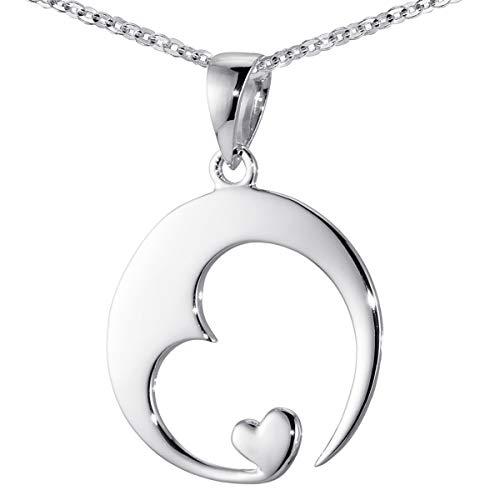c5bcdeca7f7f59 Materia Damen Herz-Anhänger Silber 925 rhodiniert Schmuck Liebe mit  Halskette 70 cm inkl.
