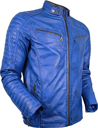 blauer motorrad lederjacke