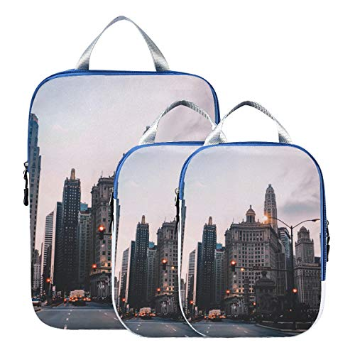 Montoj Chicago City Sunset Reise-Packwürfel, 3-teiliges Gepäck-Organizer-Set von MONTOJ