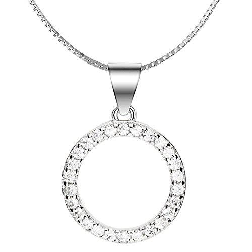 MYA art Premium Damen Halskette Kette 925 Sterling Silber Kreis Ring- Anhänger Offen mit Zirkonia a8070fe621