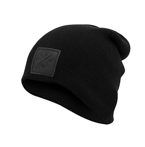 Black Out Collection Echt-Leder Veredelung Rough Beanie Mütze Strickmütze