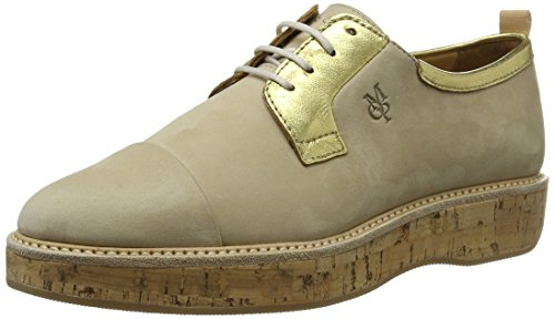 Marc O'Polo Damen 70113843401200 Lace Up Oxford, Mehrfarbig (Sand/Gold), 37 EU von Marc O'Polo