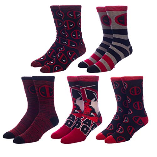 Marvel Deadpool Comic Character Crew Socks (Pack of 5),10-13,Multi-color von Marvel