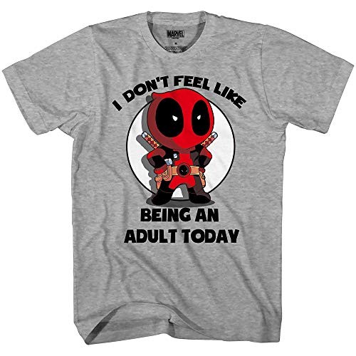 Marvel Deadpool Don't Feel Like Being an Adult T-Shirt (Large, Heather Grey) von Marvel