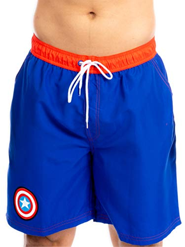 Marvel Herren Captain America Badeshorts Blau Medium von Marvel