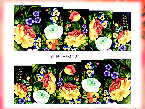 Nail Art STICKER Blumen Motiv Malerei Design # BLE-M12 von Melano Nails