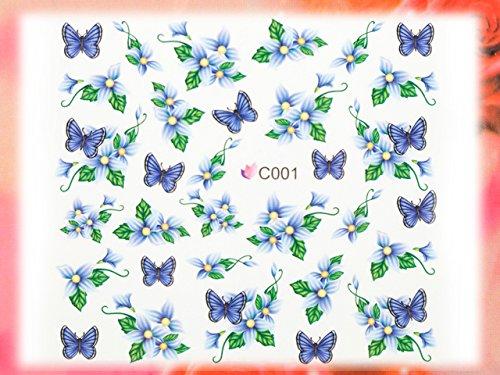 Nail Art STICKER Blumen Motiv Malerei Design # C001 von Melano Nails