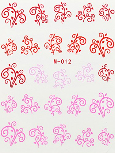 Nail Art STICKER Ornament Motiv Malerei Design M-012 Rot von Melano Nails