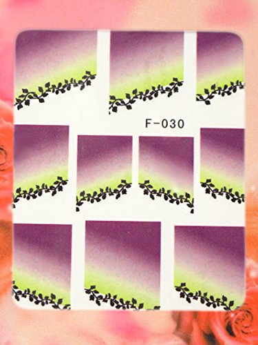 Nail Art Wasser French STICKER Blumen Design F-030 von Melano Nails