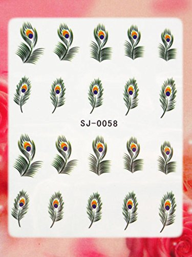 Nail Art Wasser STICKER Federn Malerei Design # BLE1686 von Melano Nails