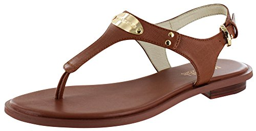 MICHAEL Michael Kors Womens Plate Thong Leather Open Toe, Luggage, Size 10.0 von Michael Kors