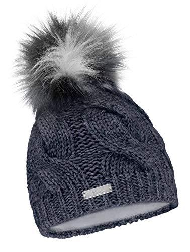 Damen Mütze Strickmutze Beanie Zopfmuster Feinstrick Innenfutter Winter warm 656