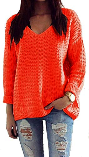 fcbf1038580605 Mikos Damen Pullover Winter Casual Long Sleeve Loose Strick Pullover  Sweater Top Outwear (627