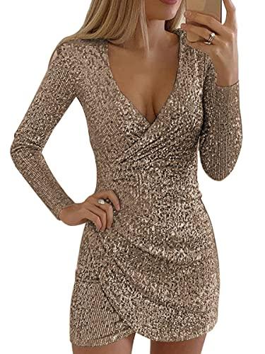 Neu Minikleid Abendkleid Festkleid Pailletten Party Kleid Gold Schwarz 36 38 40