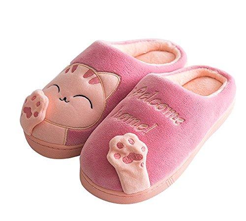 Minetom Herren Damen Winter Baumwolle Pantoffeln Dickere Wärme Weiche Hausschuhe Kuschelige Katze Home Rutschfeste Slippers D Rosa EU 38 39 GBkjDEIm