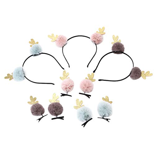Minkissy 3pcs Reindeer Antlers Headbands with Fur Pompom Balls 6pcs Pompom Balls Hair Clips Christmas Hair Accessories Party Favors Gifts Style 1 von Minkissy