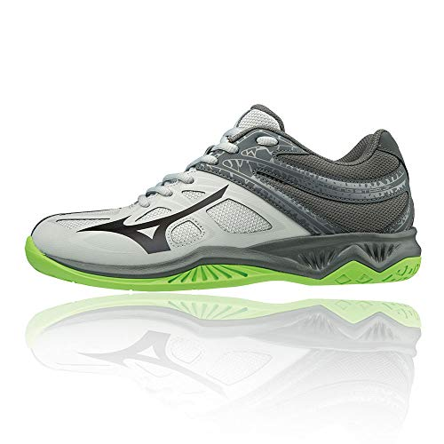Mizuno Unisex-Kinder Lightning Star Z5 JR Volleyballschuhe, Grau (Highrise/Black/GreenGecko 37), 38 EU von Mizuno