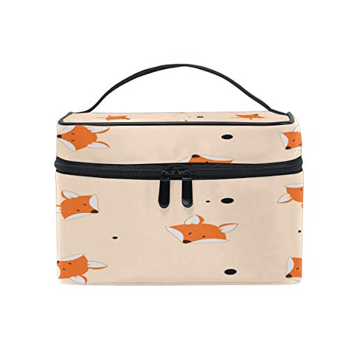 Makeup Bag, Cartoon Fox Cosmetic Toiletry Storage Organiser Case Large Travel Handle Pouch Best Gift for Teenage Girl Women Lady von Mnsruu