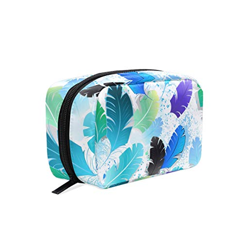 Mnsruu Makeup Bags, Feathers Travel Cosmetic Bags Brush Pouch Toiletry Wash Bag for Women Girls von Mnsruu