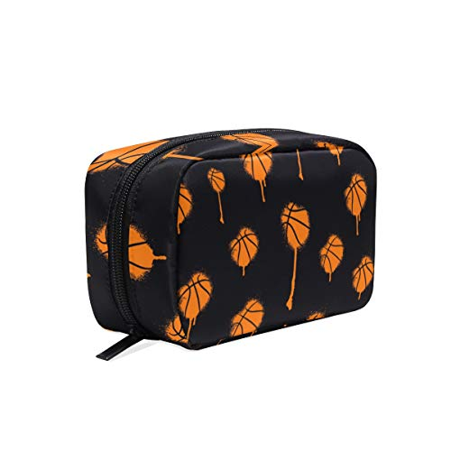 Mnsruu Makeup Bags, Hand Drawn Basketball Travel Cosmetic Bags Brush Pouch Toiletry Wash Bag for Women Girls von Mnsruu