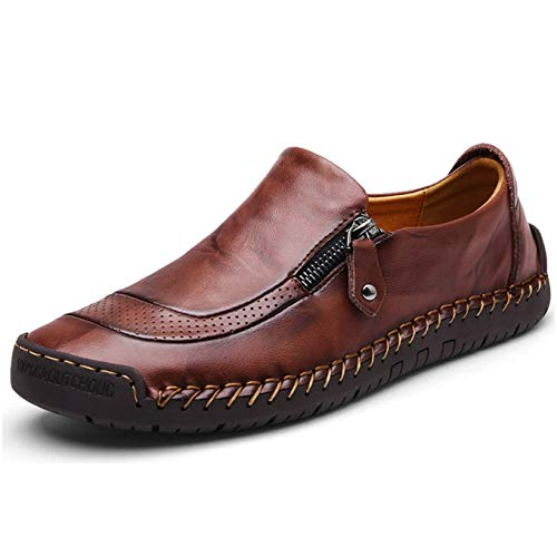 Mens Leather Loafer Comfy Lightweight Round Toe Shoes Flats Moccasins Non-Slip Wider Business Work Shoes Large Size von Moodeng