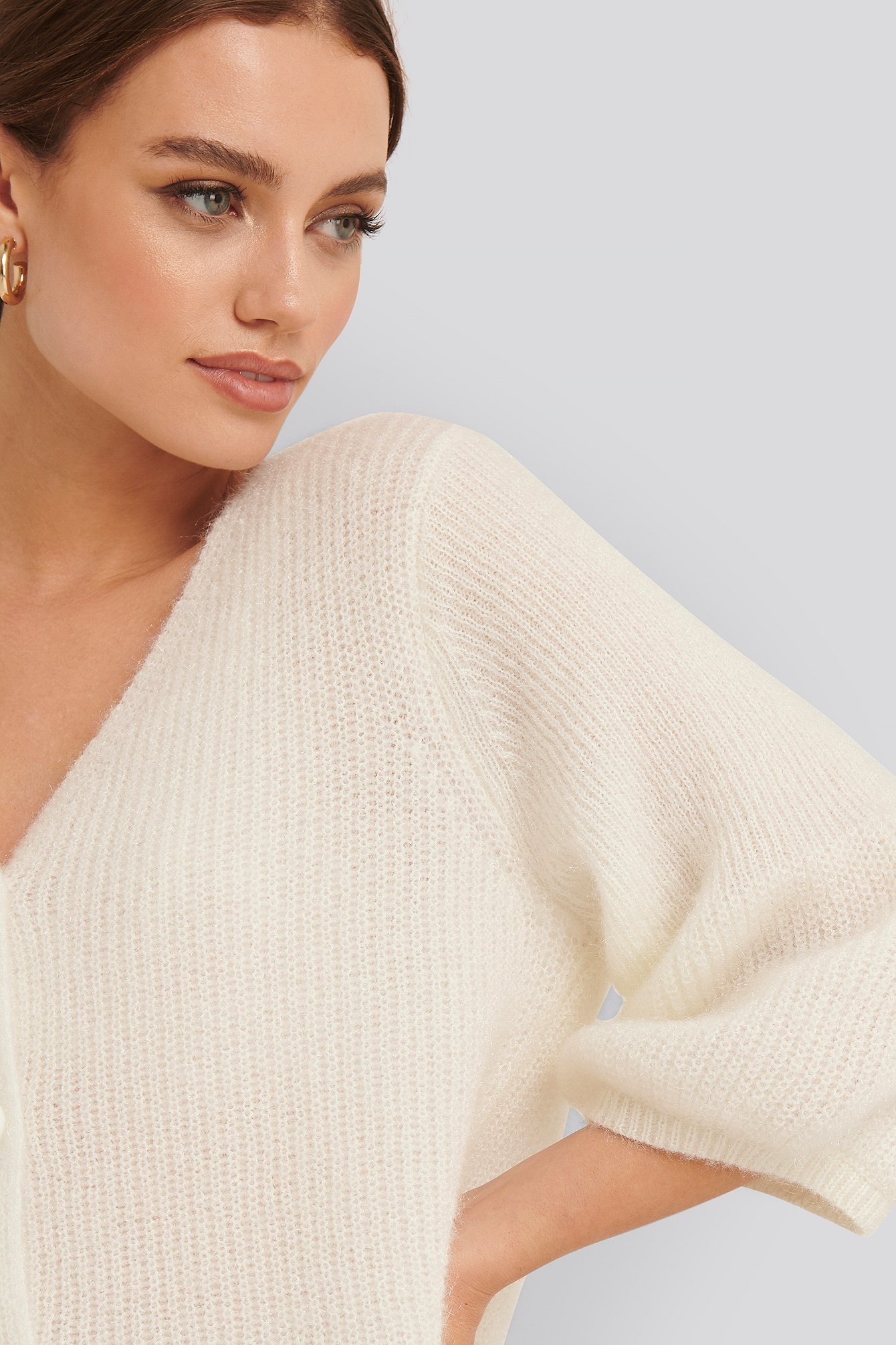 NA-KD Balloon Sleeve Short Knitted Cardigan - White von NA-KD