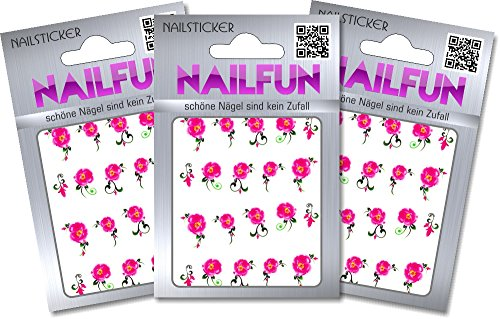 NAILFUN 1 Bogen One Stroke Sticker BLE-007 Nailsticker Nailart Nailtatoo, 3er Pack (3 x 1 Stück) von NAILFUN