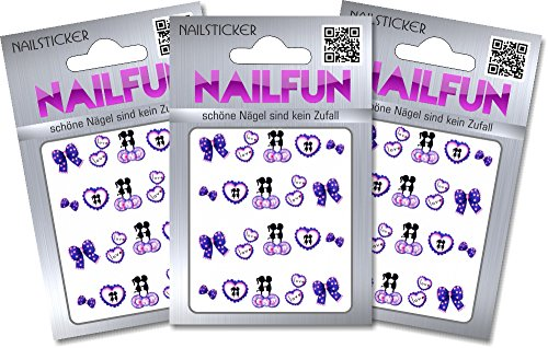 NAILFUN 1 Bogen One Stroke Sticker BLE-1315 Nailsticker Nailart Nailtatoo, 3er Pack (3 x 1 Stück) von NAILFUN ®