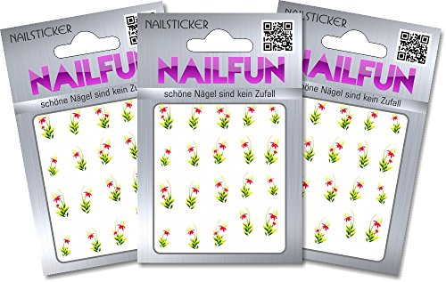 NAILFUN 1 Bogen One Stroke Sticker BLE-631 Nailsticker Nailart Nailtatoo, 3er Pack (3 x 1 Stück) von NAILFUN ®