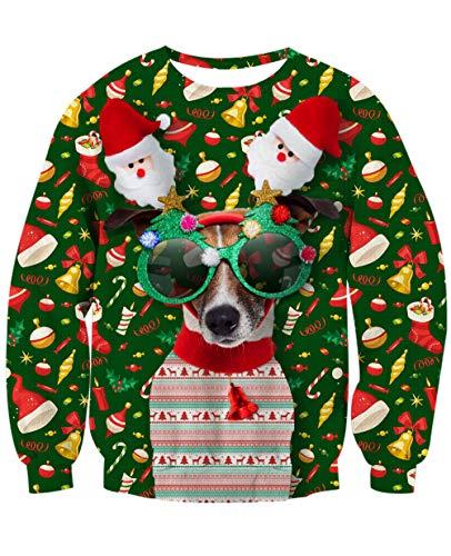 Longra Kapuzenpullover Damen Pullover Pfote Drucken Weihnachtspullover Winterpullover Damen Hoodie Oversize Sweatshirt Jacke Kapuzenshirt