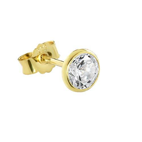 Single Ohrstecker Gold 333er 5,50mm echt Granat Damen Herren Kinder 6719