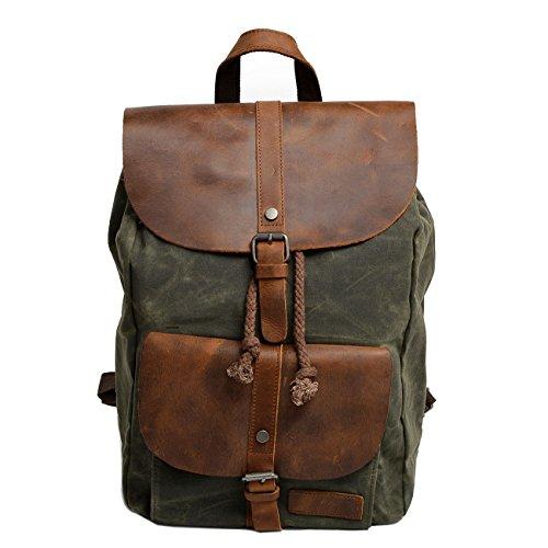 da51b75577fe8 Neuleben Vintage Wasserdicht Rucksack Daypack aus Canvas Leder Damen Herren  für Reise Outdoor Schule (Grün