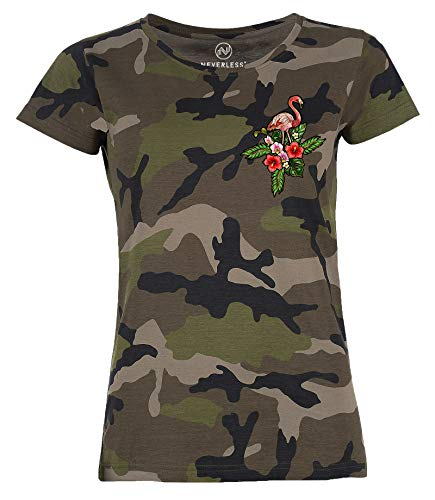 Neverless® Damen T-Shirt Camouflage Camo-Shirt Flamingo Tropical Palmblätter Sommer Stick-Patch-Optik Tarnmuster schwarz XL von Neverless