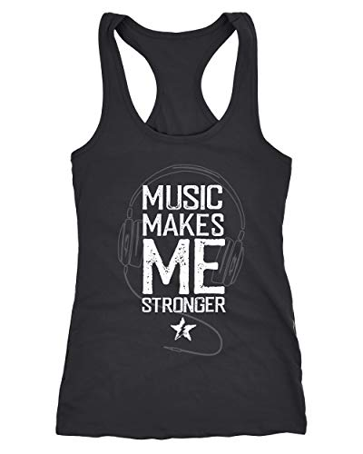 Neverless® Damen Tank-Top Music Makes me Stronger Spruch Statement Racerback schwarz XL von Neverless