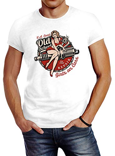 Neverless® Herren T-Shirt Girls on Cars Retro Vintage Print Pin up Girl Logo Aufdruck Slim Fit weiß XL von Neverless