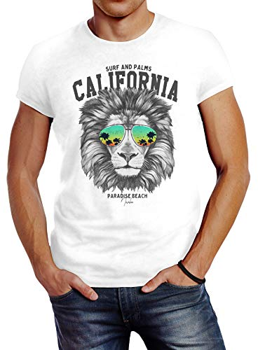Neverless® Herren T-Shirt Löwe Bär Sonnenbrille Palmen Summer California Slim Fit Lion weiß XXL von Neverless