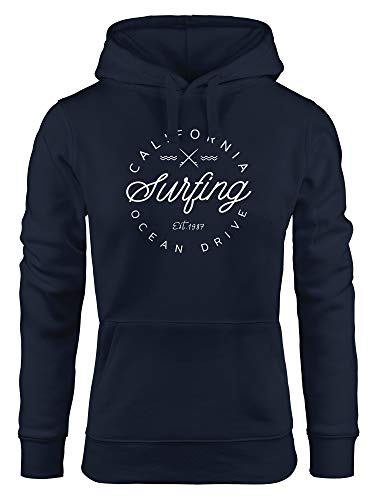 Neverless® Hoodie Damen California Surfing Ocean Drive Summer Kapuzen-Pullover Navy L von Neverless