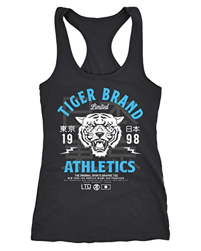 Neverless Cooles Damen Tank-Top Tiger Brand Tokyo Supply Japan Athletic Sport Muskelshirt Muscle Shirt schwarz-türkis L von Neverless