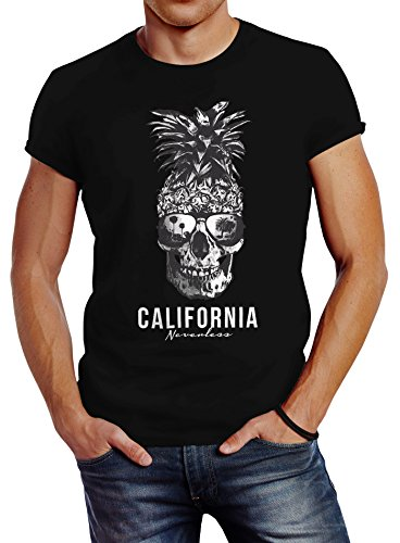 Neverless Cooles Herren T-Shirt Pineapple Skull Sonnenbrille Ananas Totenkopf Slim Fit schwarz XL von Neverless