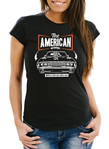 Neverless Damen T-Shirt American Muscle Sports Car Auto Tuning Retro Slim Fit schwarz L von Neverless