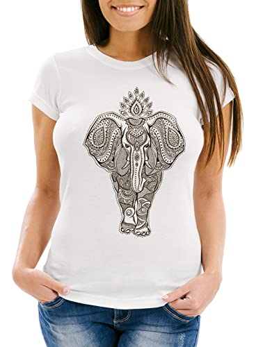Neverless Damen T-Shirt Mandala Elefant Elephant Boho Ethno Slim Fit weiß S von Neverless