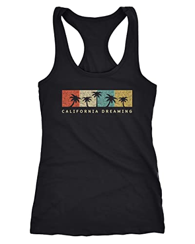 Neverless Damen Tank-Top California Dreaming Summer Party Palmen Palms Retro Vintage Racerback Tank Top schwarz L von Neverless
