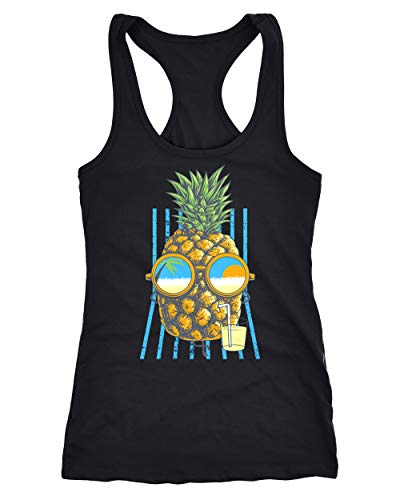 Neverless Damen Tank-Top Chilling Ananas Racerback schwarz L von Neverless