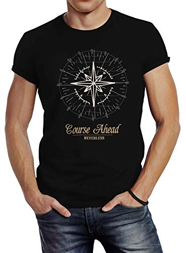 Neverless Herren T-Shirt Kompass Windrose Navigator Segeln Slim Fit schwarz 3XL von Neverless