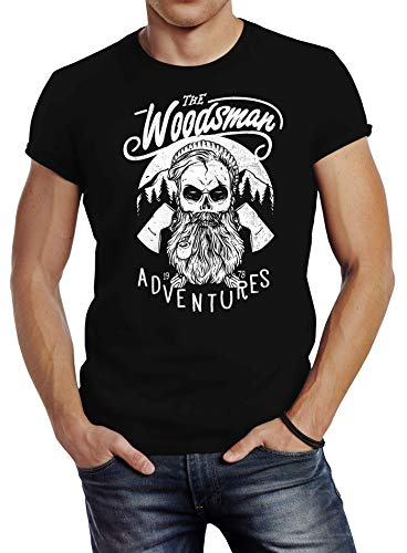 Neverless Herren T-Shirt Lumberjack Woodsman Hipster Bart Beard Skull Totenkopf Slim Fit schwarz XL von Neverless