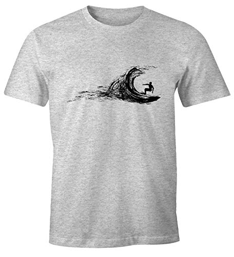 Neverless Herren T-Shirt Surfer Surfing surfen Surfboard Wave Welle Wellenreiten Urlaub Meer Ozean Surfer Boy Silhouette Slim Fit grau-meliert XL von Neverless