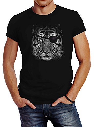 Neverless Herren T-Shirt Tiger Eye Patch Tigerkopf Slim Fit schwarz 4XL von Neverless