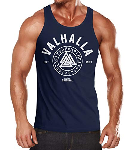 Neverless Herren Tank-Top Valhalla Runen Vikings Wikinger Muscle Shirt Navy XXL von Neverless