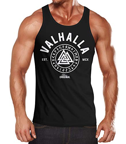 Neverless Herren Tank-Top Valhalla Runen Vikings Wikinger Muscle Shirt schwarz S von Neverless